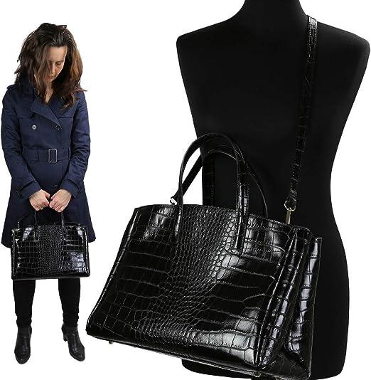 Olivia Porte Main Epaule 38X25X16 cm Cuir Sac /à Main Femme Cuir Bordeaux Sac en Cuir fa/çon Crocodile d/éclinent Le Chic So-Croco