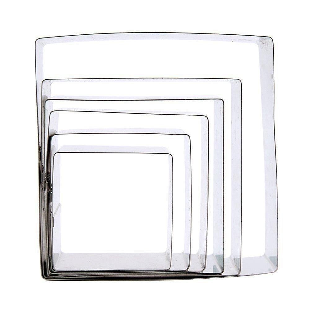 YOFAN 6-Piece Stainless Steel Mousse Mold , Cake Baking Decor Ring (rectangle) E2295rectangle
