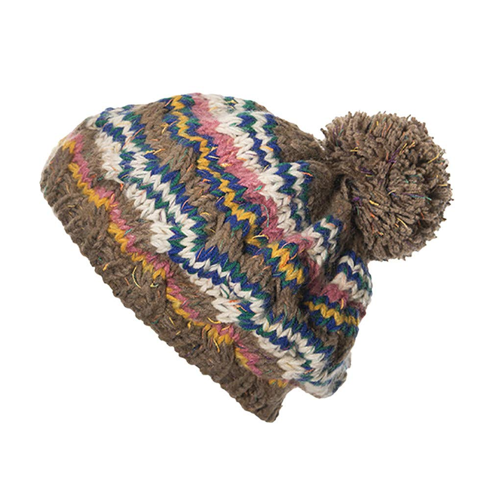 Cable Knitted Bobble Ball Hat, Mens Womens Beanie Cat Warm Winter Wooly Cap (1 pc, D)