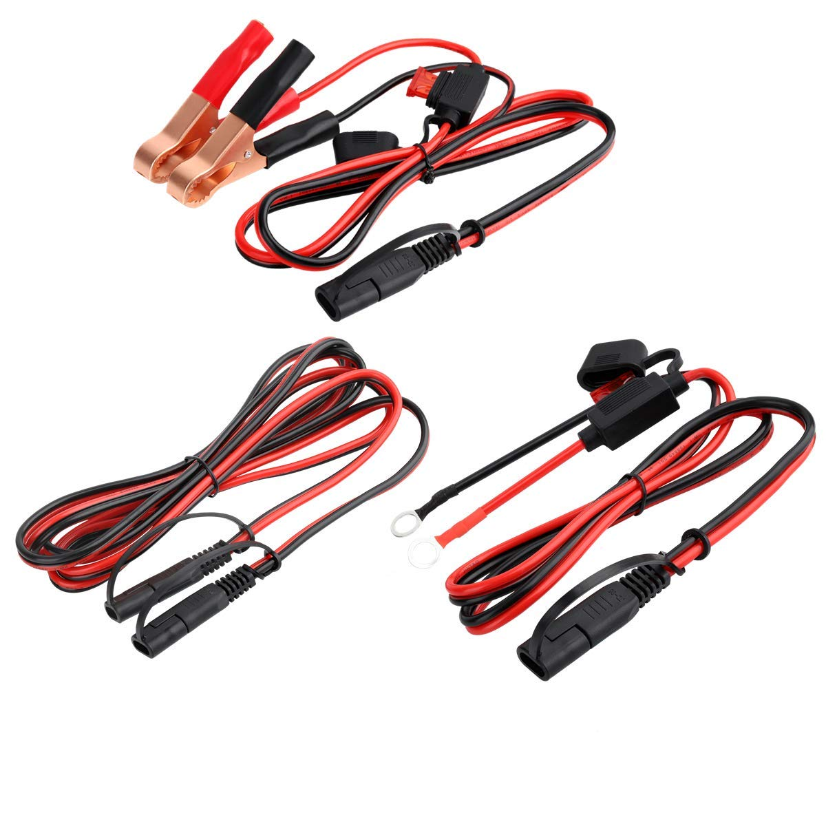 16 Gauge SAE Cable Battery Charger Kits,12 V SAE to SAE 2 Pin Connect Harness,SAE to Battery Alligator Clip Quick Disconnect Release Adapter, SAE to O Ring Terminal Extension Wire with Fuse (3 Pack) by muyimu