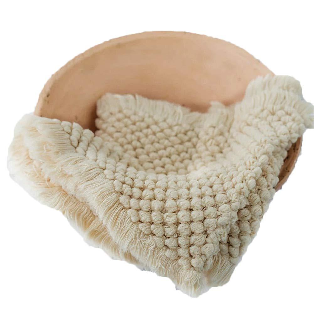 Baby Photography Props Basket Braid Wool Wrap Newborn Photo Shoot Baskets Filler Posing Stuffer Background Blanket (Beige)