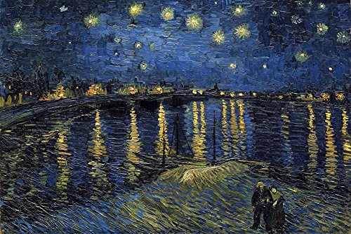 Art Rhone Framed (Starlight over the Rhone by Vincent Van Gogh 36x24 Museum Master Art Print Poster Famous Painting)