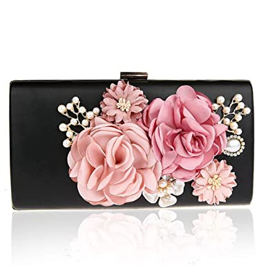 965dda4e4306b EPLAZA Women Large Capacity Flora Evening Party Bags Clutch Purse Vintage Wedding  Handbags Wallet (black)  Amazon.co.uk  Clothing
