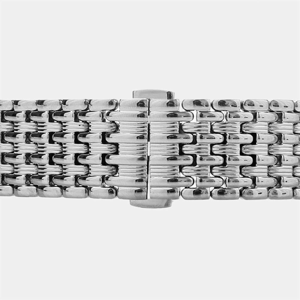 YXFYXF Klockband, rem, klocktillbehör 18/20/22 mm silver rostfritt stål 9 pärlor klockband driftsättning spänne med tryckknapp (färg: 22 mm) 18 mm