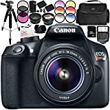 Canon EOS Rebel T6 DSLR Camera with 18-55mm Lens 15PC Accessory Bundle – Includes 32GB SD Memory Card + .43x Professional Wide Angle Lens + MORE (Certified Refurbished)