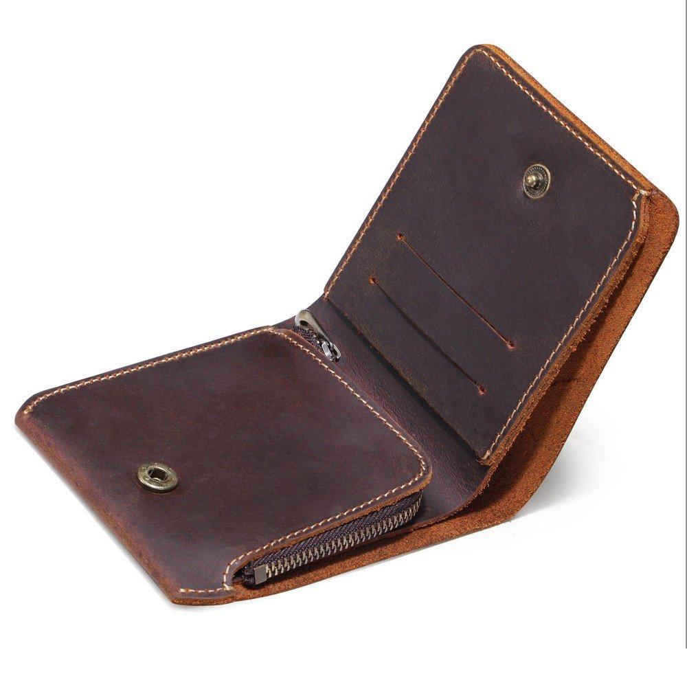 Wallet Men'S Short Wallet, Handbag, Genuine Leather, Cowhide, And Ancient Brown.