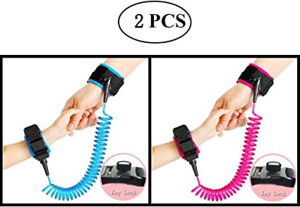 360/°Rotate Safety Leash Wristband with Elastic Wire Rope and Security Lock 2.5M Walking Wrist Straps for Children and Baby Anti-Lost Wrist Link Belt Green