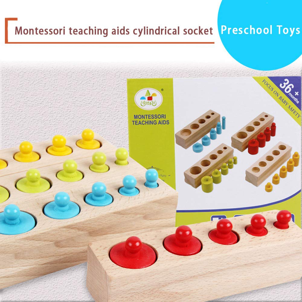 Well-Educated New Arrival Kids Montessori Toys Colorful Socket Cylinder Set Beech Wood Multicolor Blocks Early Educational Math Teaching Toys Color & Shape