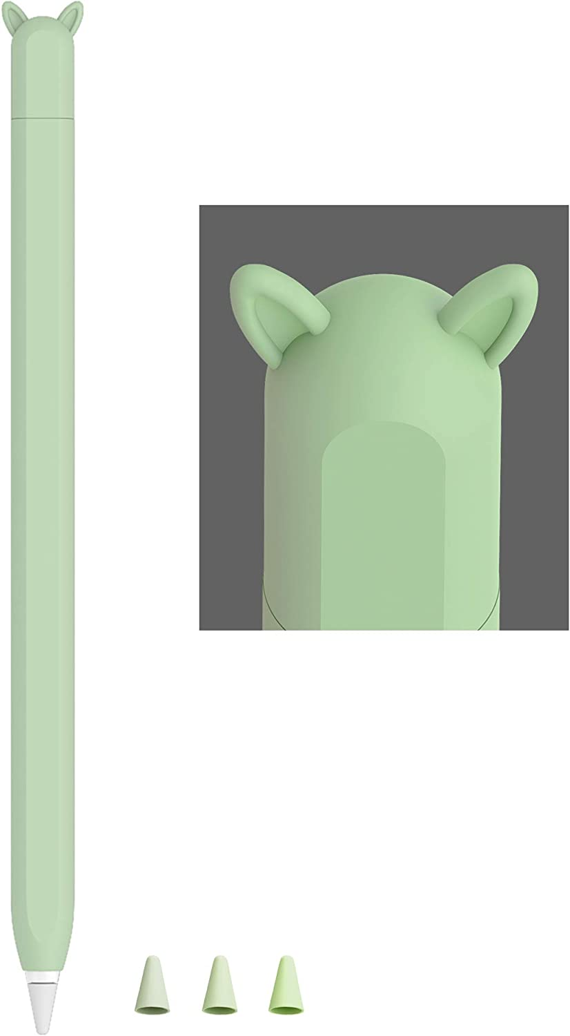 Cute Ear Case Silicone Skin Cover for Apple Pencil 2nd Generation, and Protective Nib Cover Accessories Compatible with iPad Pro 11 12.9 inch,Green