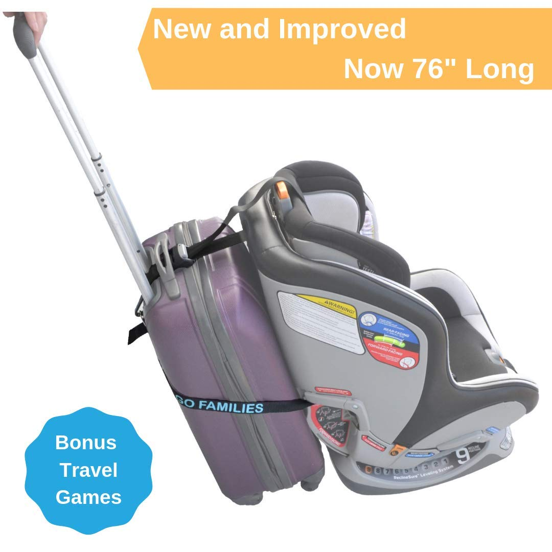 Car Seat Luggage Strap by On The Go Families - Travel Accessory to Turn Your Carry-On Suitcase into Carseat Carrier & Stroller for The Airport - Make Traveling with Toddlers Easier - Light & Portable by On The Go Families