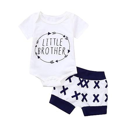5243addcd Amazon.com: ❤ Mealeaf ❤ Summer Infant Baby Boys Clothing Set Letter Romper  + Shorts Set Outfits(6-24M): Home & Kitchen