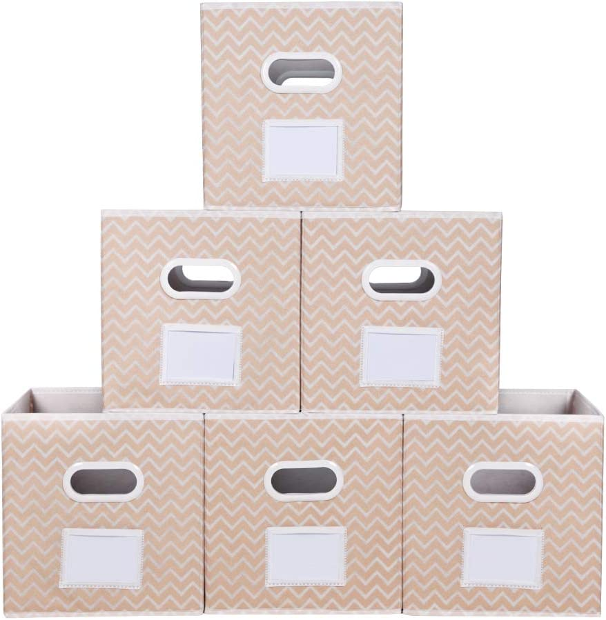 MAX Houser Fabric Cloth Storage Bins,Foldable Storage Cubes Organizer Baskets with Dual Handles for Home Bedroom Storage,Set of 6 (Apricot)