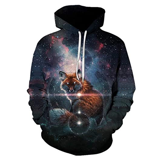 Amazon.com: 3D Print Animal Fox Galaxy Space Lighting Jacket Hoodies Men Women Hip Hop Sweatshirt Hipster Black Coat Clothes: Clothing