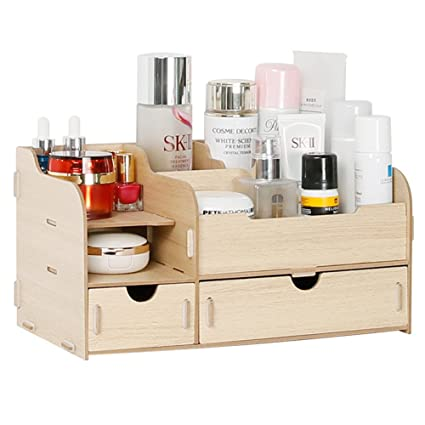 Yiliag Multifunction Wooden Makeup Organizer DIY Cosmetic Storage Box Jewelry Box-Wood  sc 1 st  Amazon.com & Amazon.com: Yiliag Multifunction Wooden Makeup Organizer DIY ...