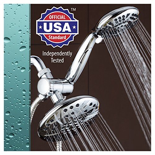 AquaDance 6″ Premium High Pressure 3-way Rainfall Shower Combo Combines the Best of Both Worlds – Enjoy Luxurious Rain Showerhead and 6-setting Hand Held Shower Separately or Together!