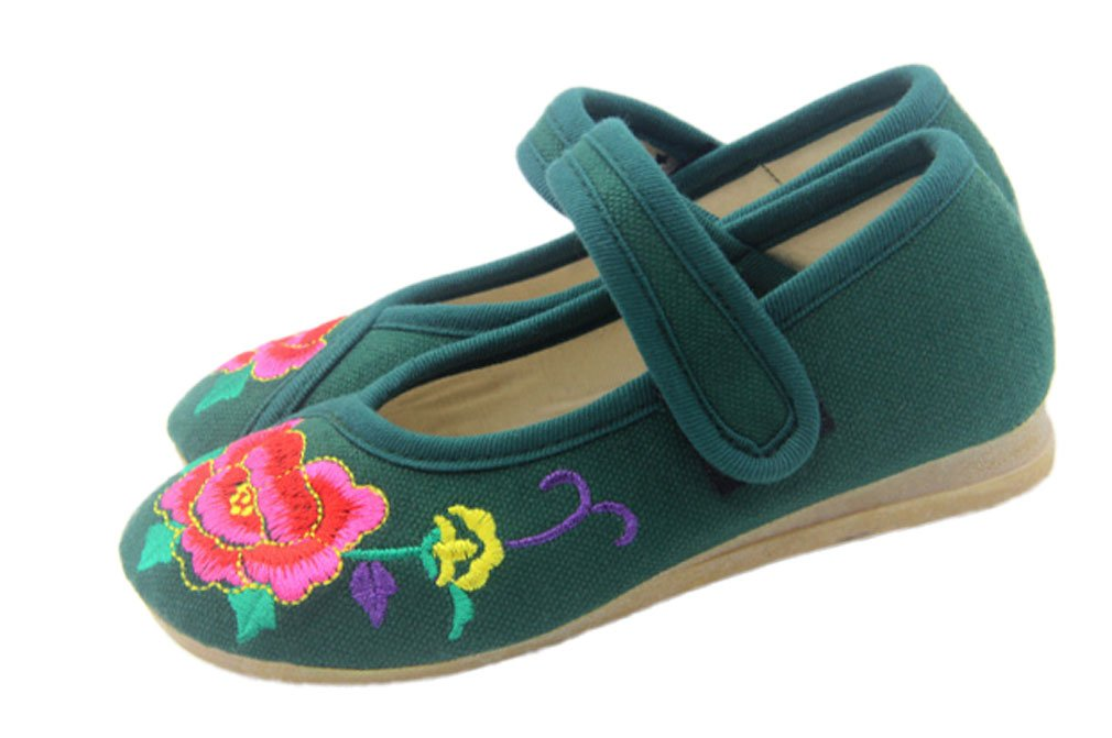 Soojun Girls Chinese Embroidery Oxfords Sole Mary Jane Flats (Little Kid), US 12.5 Darkgreen