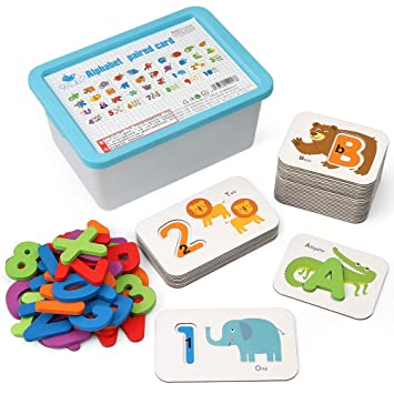 Coogam Numbers and Alphabets Flash Cards Set - ABC Wooden Letters and  Numbers Animal Card Board Matching Puzzle Game Montessori Educational Toys  Gift