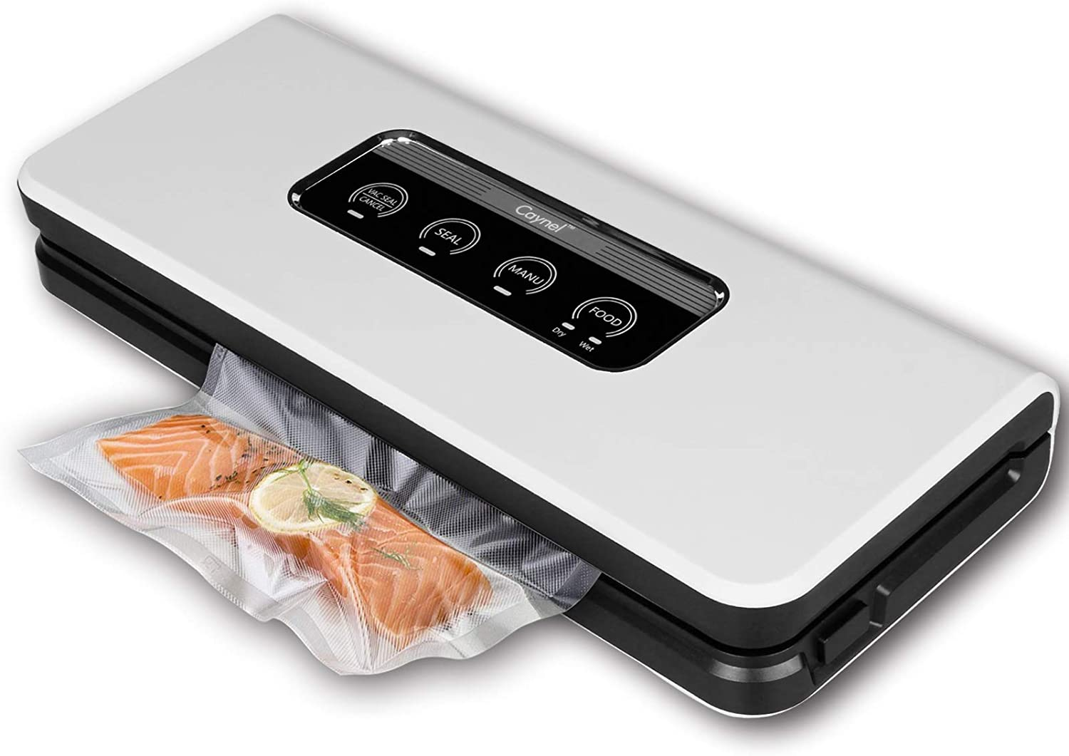 Caynel Automatic PRO Vacuum Sealer Machine. Moist & Manual Modes Selectable, Starter Kit Included. Food Preservation Saver, Sous Vide. (White)