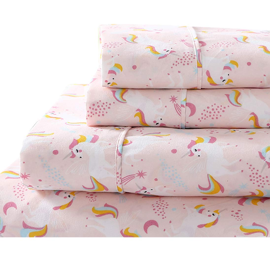 Cosmic Pink Unicorn Sheet Set with Rainbow Mane and Shooting Stars - Includes Flat Sheet, Fitted Sheet, Pillowcase(s) (Full)