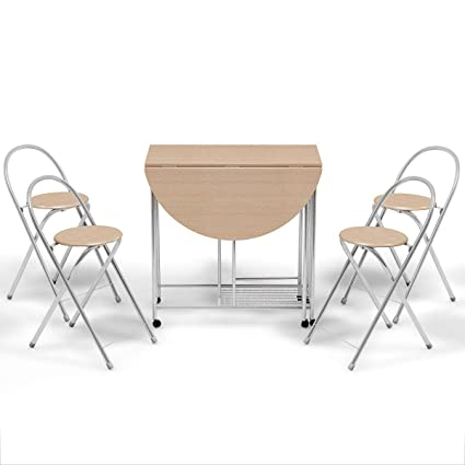 Admirable Amazon Com Lordbee 5 Pcs Foldable Dining Set 1 Table And 4 Ibusinesslaw Wood Chair Design Ideas Ibusinesslaworg