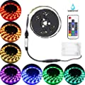 Abtong Led Strip Lights Battery Powered, RGB Led Lights Strip with RF Remote Control Waterproof Led Strip Rope Lights Multi Color Changing Led Lights-2M/6.56ft