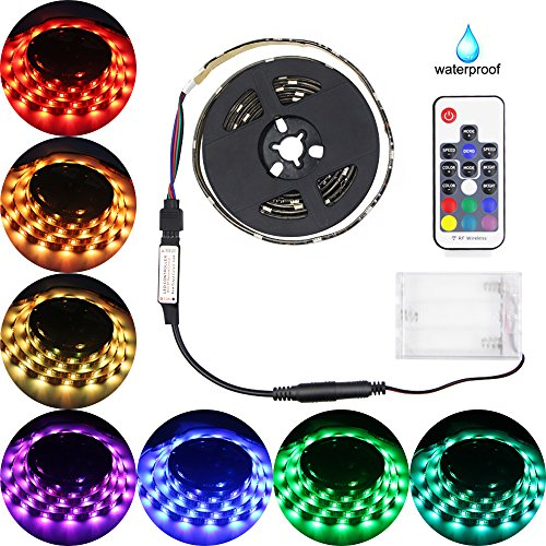 Abtong Led Strip Lights Battery Powered, RGB Led Strip Rope Lights Waterproof Led Lights With Remote Control Flexible Led Strip Lighting-2M/6.56ft - Led Battery Strip Light