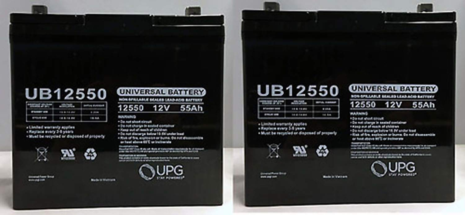 Universal Power Group 12V 55AH Pride Mobility Jazzy 600, 600 XL, 614, 614HD Battery - 2 Pack by Universal Power Group