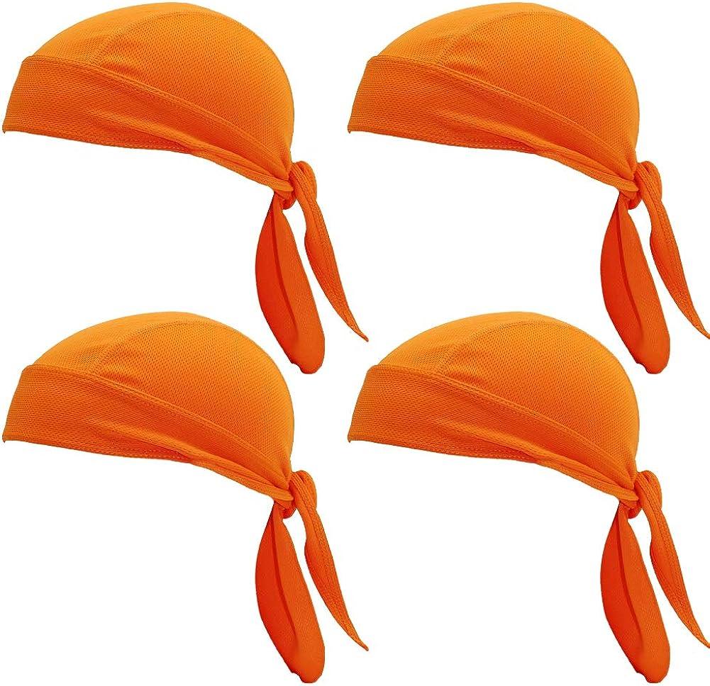 MIZOK Unisex 4 Pieces Cycling Bandana Cap Sun UV Protection Sweat Wicking Cap Hat Skull Cap Pirate Hats