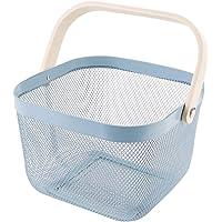 Cabilock Blue Mesh Basket with Handle Kitchen Fruit Vegetable Bin Utensil Dinnerware Storage Strainer Bin…