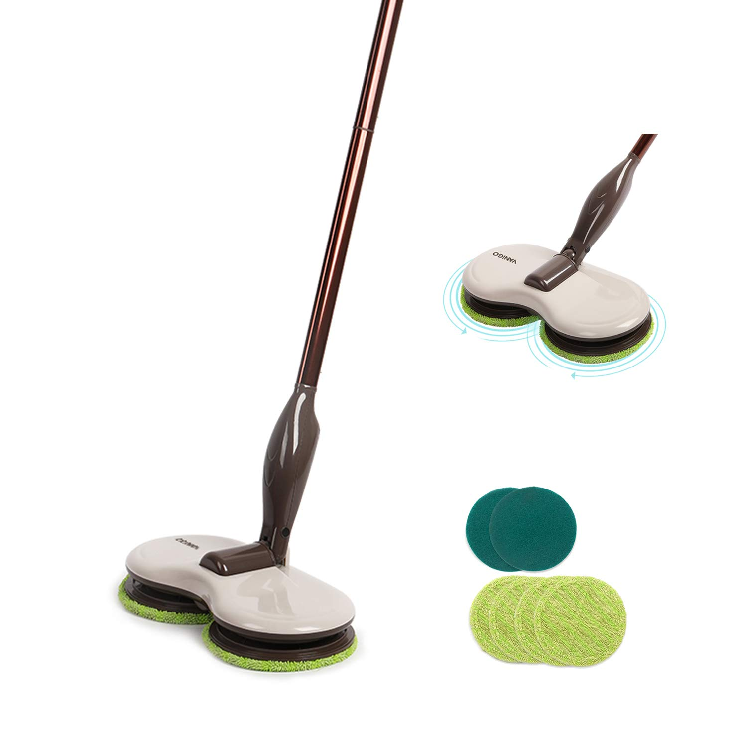 Electric Spin Mop, Cordless Floor Sweeper Cleaner with Dual Spinning Heads and Replaceable Pads for Tile Wood Hard Floor Window