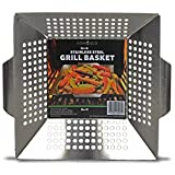 Vegetable Grill Basket By HomEco, Professional Grade 430 Stainless Steel Wok, Meat Grilling Basket, BBQ, Barbecue, Veggie, Fish, Quesadilla, Shrimp, Corn, Kabob