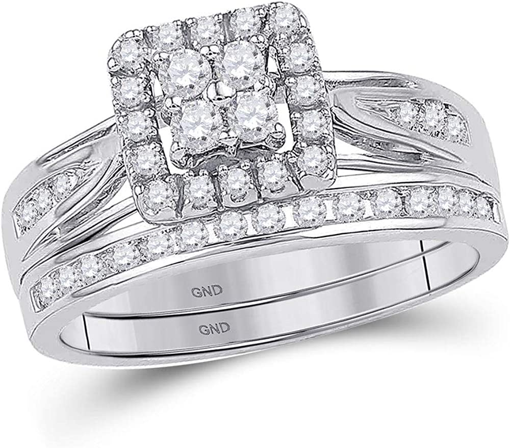 FB Jewels 10K White Gold Womens Diamond Square Cluster Bridal Wedding Engagement Ring Band Set 1/4 Cttw