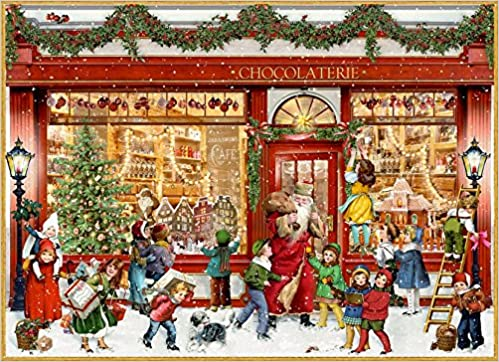Nostalgischer Schiebekalender Sch/öne Winterzeit Adventskalender