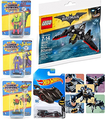 DC Super Powers Micro Retro Figures Exclusive Lex Luthor / Robin + Joker Mini character characters Buildable Batwing plane & Hot Wheels Batman Batmobile with Sticker set ()