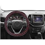 NIKAVI Microfiber PU Leather Skidproof Steering Wheel Cover, Universal Fits 38cm/15 On Most Car, SUV, Van & Trucks (RED LINE)