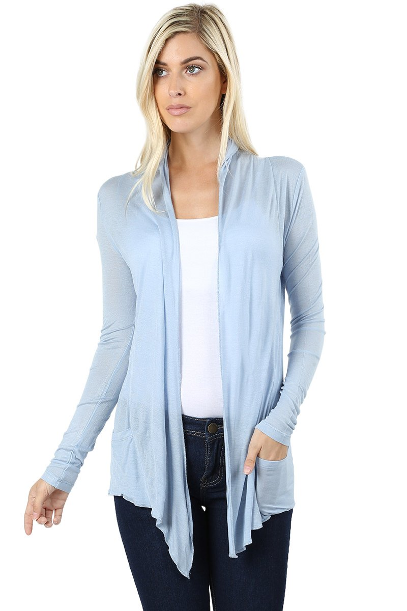 Sportoli Women's Cardigan Long Sleeve Waterfall Drape Hacci Breathable Solid Summer W/Pocket -Ash Blue (Large)
