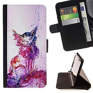 Momo Phone Case / Flip Funda de Cuero Case Cover - Graffiti Gato Dibujo Street Art Stencil; - HTC One Mini 2 M8 MINI