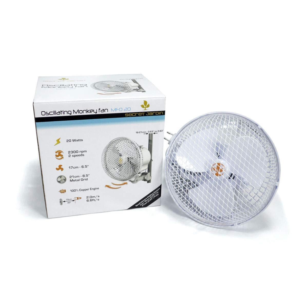 Oszilierender Ventilator mit Clip 17cm 20W Secret Jardin (Monkey Fan MFO20)