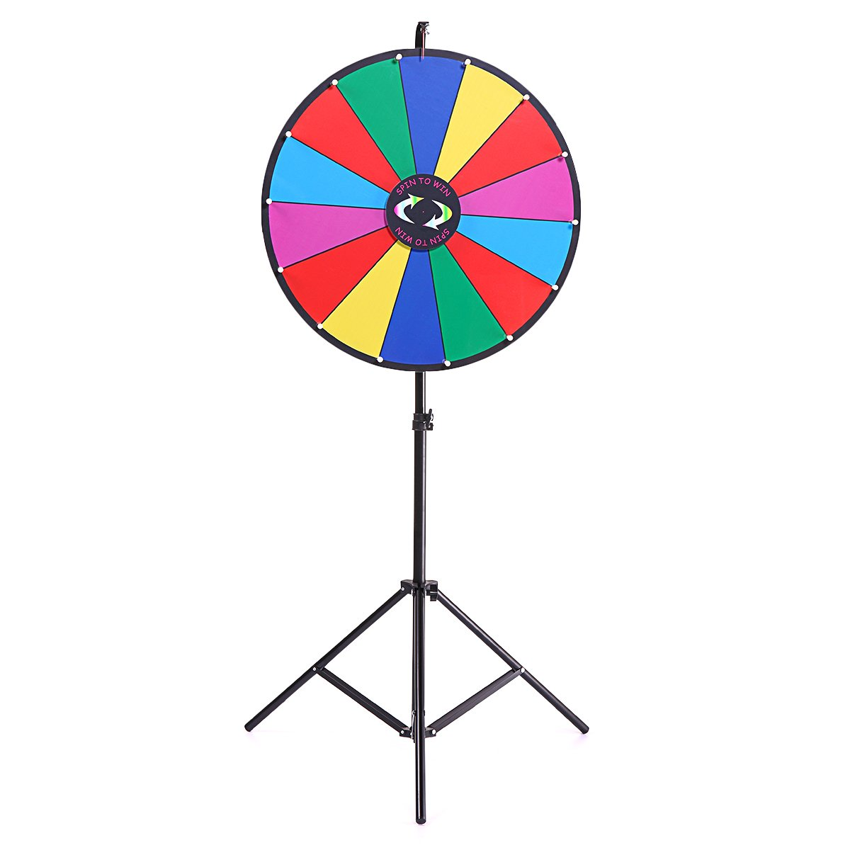 JAXPETY Upgraded Editable 24'' Color Prize Wheel Fortune Tabletop Spinning Game with Folding Tripod Floor Stand 14 Slots