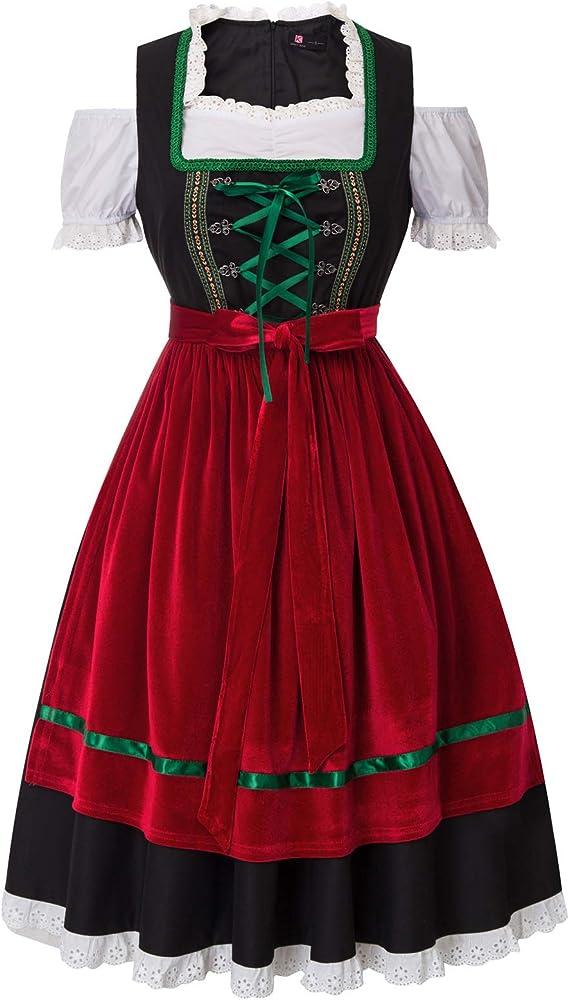 2 Piezas: Vestido, Delantal Disfraz de Oktoberfest para Mujer Disfraz de Festival de Cerveza Alemana Disfraz de moza b/ávara para Fiesta 78