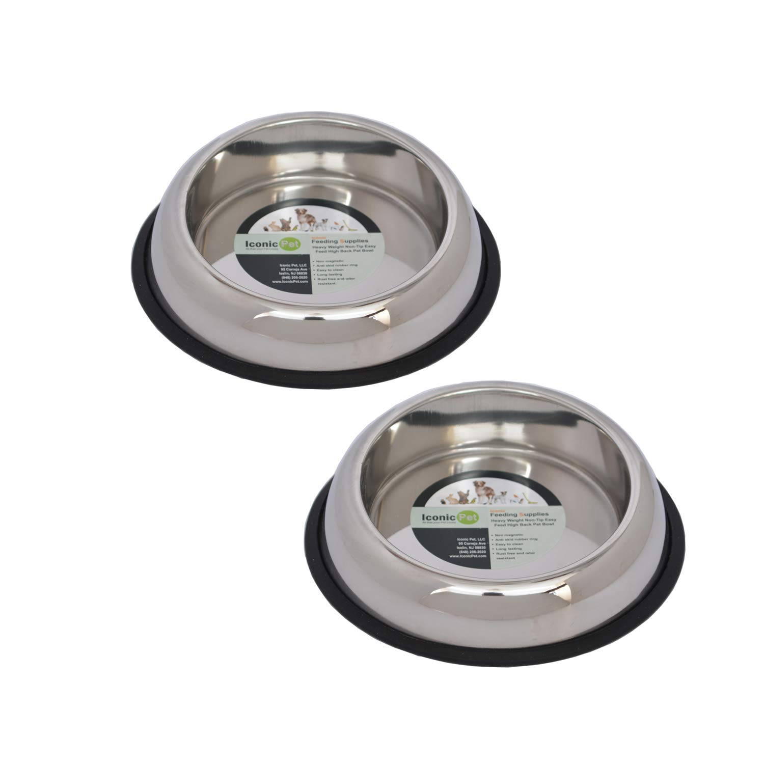 Iconic Pet 4 Cup Heavy Weight Non-Skid Easy Feed High Back Pet Bowl for Dog Or Cat (2 Pack) 32 oz