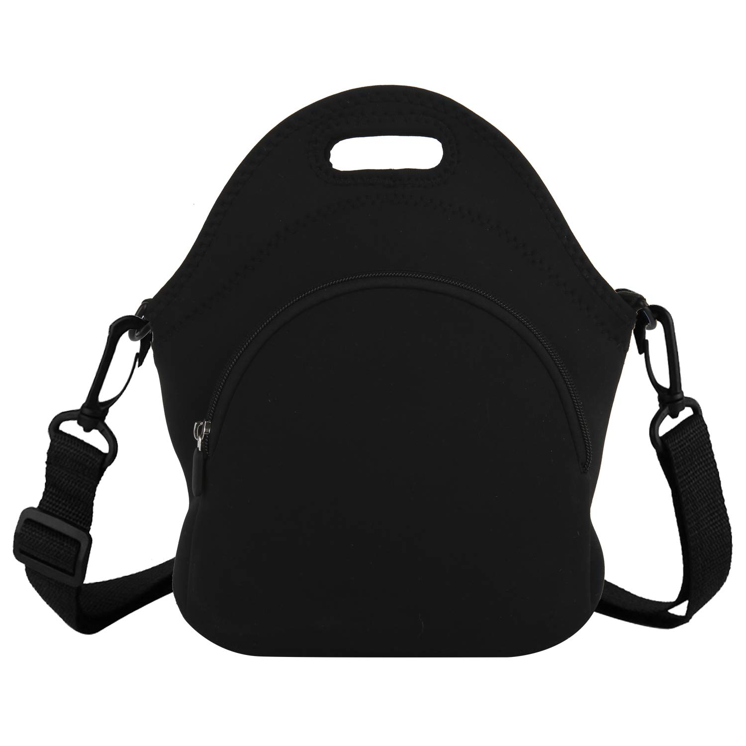 d813bb822530 Black Neoprene Lunch Boxes Bag with Zipper Pocket and Detachable Strap for  School Picnic Office