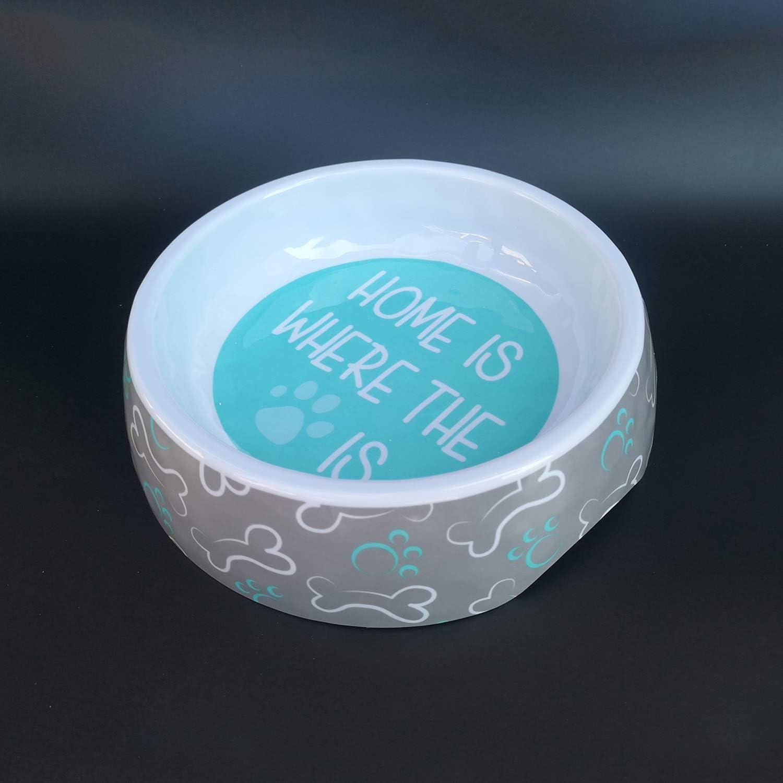 Puppy Food and Water Bowls Feeder Bowl 100% Melalmine BPA Free Pet Bowl Non-Slip Mat Petware Bowl for Dogs Cats Pets (Grey , Medium )