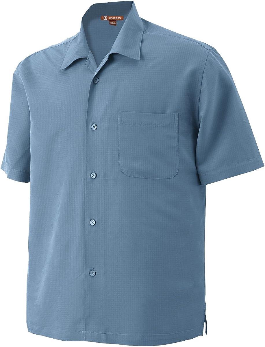 Harriton Mens Barbados Textured Camp Shirt