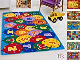 Handcraft Rugs Kids Rugs. Educational, Learning Abcd Ballons.Rubber Back. Non-Slip Educational/Play Time.Multi Color.
