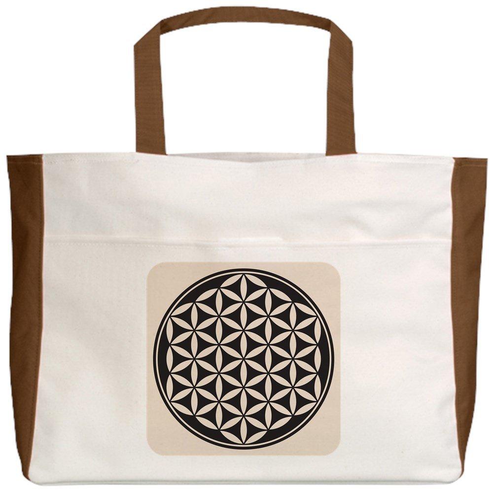 Flower of Life Peace Symbol Royal Lion Beach Tote 2-Sided