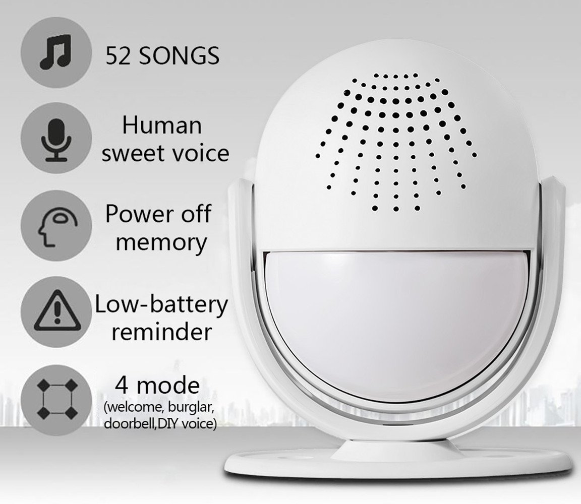 Fuers M6 Wireless Motion Alarm and Alert System with Customize Voice/Songs Function,Welcome Guest Entry Chime, Connectable Speaker for Shop, Hotel, Home by Fuers (Image #2)