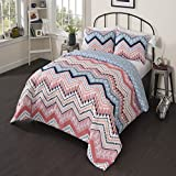 3 Piece Girls Light Pink Blue White Tribal Chevron Comforter Full Queen Set, Girly All Over Horizontal Zigzag Tribe Bedding, Multi Color Boho Chic Southwest Polka Dot Dots Themed Pattern, Navy Coral