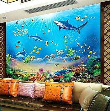 Kuamai Fototapete Hd Unterwasserwelt Shark Tropische Fische 3D Wandbild Moderne  Aquarium Wohnzimmer Tv Kinder Schlafzimmer Hintergrund
