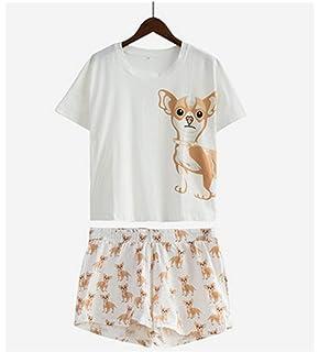 817f9c5fc7 Cute Pajama Sets Cotton Chihuahua Print Crop 2 Pieces Set Dog Pajamas Loose